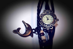 Braided Faux Leather Watch Bracelet with Butterfly Charm & Beads