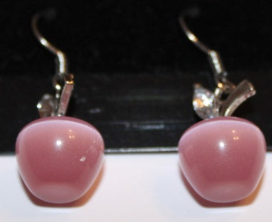 Gorgeous Pink & Silver Apple Earrings