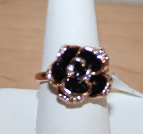 Rose Goldtone Black Flower and Clear Crystal Ring Size 9