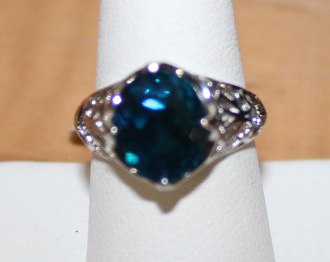Very Pretty Silvertone High Profile filigree Ring with Faux Blue Stone Size 9