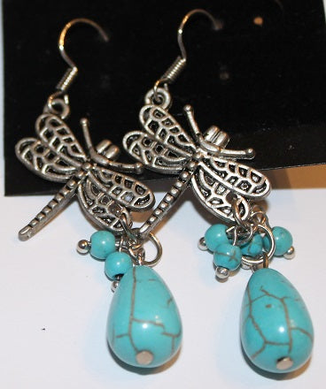 Gorgeous Faux Turquoise Dragonfly Earrings
