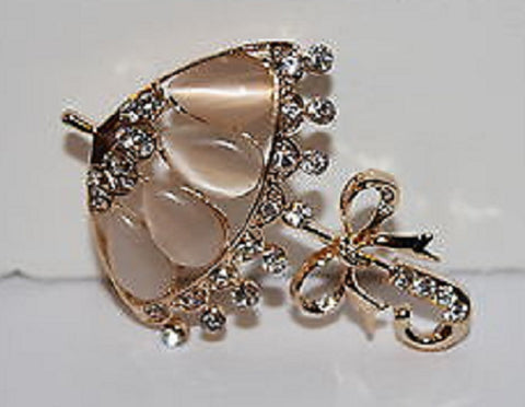 Goldtone Umbrella Pin with Pink and Clear Crystals