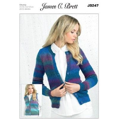 James C Brett Ladies Cardigans JB247 Knitting Pattern Marble Chunky