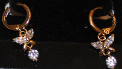 Clear Crystal & Goldtone Butterfly Pierced Earrings