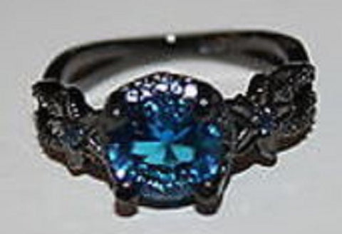 W00334 Titanium Colored Ring w Bright Blue Lg Stone Accented w Dk Stones  Size 8