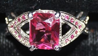 Silvertone Ring with Pink and Clear Crystals Size 8 - W00346