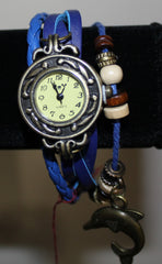 Braided Faux Leather Watch Bracelet with Dolphin Charm & Beads