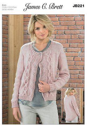 Ladies' Jacket Pattern in James C. Brett Aztec Aran JB221