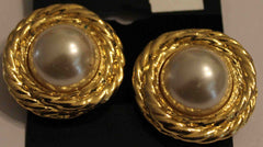 Faux Pearl & Goldtone CLIP Earrings