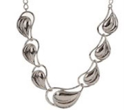 Tulestes Textured Silvertone Graduated Leaf Necklace