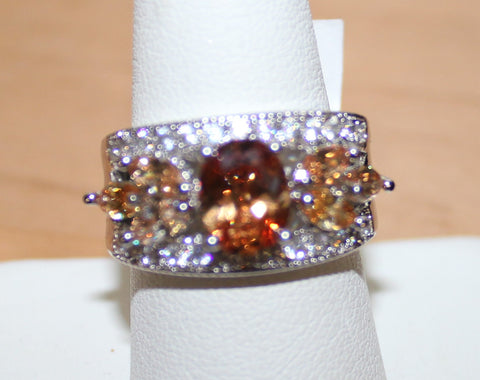 Silvertone Ring with Light and Dark Peach Crystals Size 9