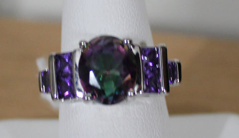 925 Silvertone Rainbow Topaz Crystal with Purple Side Crystals Size 8