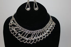 Silvertone Necklace and Earring Set Crystal Bib with Earrings