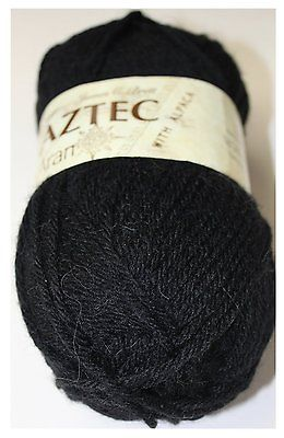 James C. Brett Aztec Aran with Alpaca (100g) - AL12 (Black)