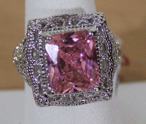 Gorgeous Silvertone Ring with Pink Faux Crystal with Filigree Size 9