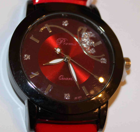 Gorgeous Red & Black Fashion Watch W00530