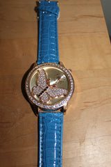 Gorgeous Watch with Butterfly on Face and Blue Band