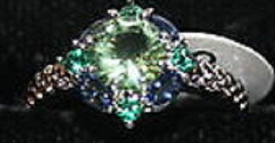 W00362 Silvertone Ring with Blue Green and Clear Crystals Size 6
