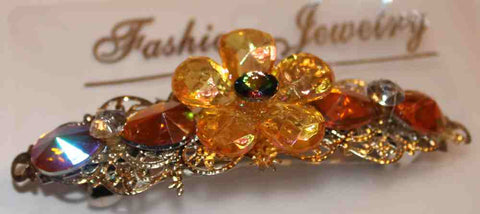 Girls Floral Barrette - Yellow, Green, Orange & Goldtone