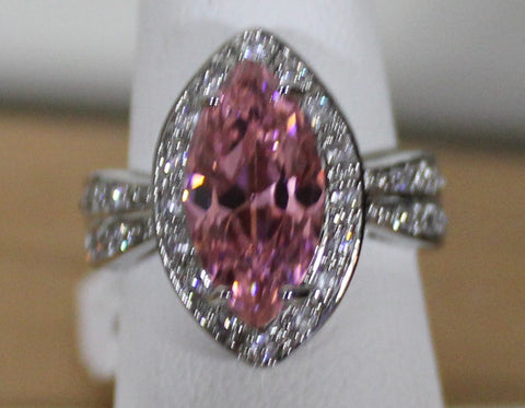 925 Silvertone Ring with Pink Marquise and Clear Crystals Size 7