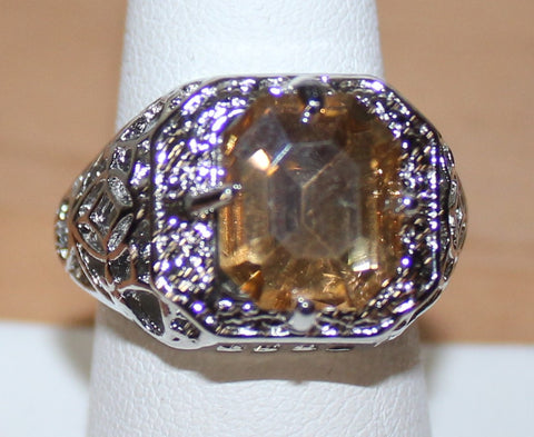 Very Pretty Silvertone Filigree Ring with Faux Champagne Crystal Size 9