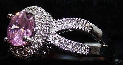 Silvertone Ring Pink Round Stone Surrounded w Clear Faux Crystals Size 8 W00304