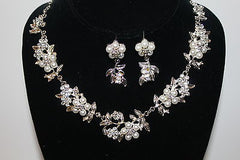 Silvertone Special Occasion Faux White Pearl with Clear Crystal Necklace