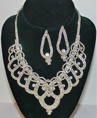 Silvertone Special Occasion Necklace and Earring Set with Clear Crystals