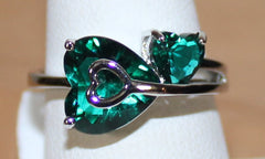 Cute Silvertone Heart Shaped Ring with Faux Green Crystals Size 9