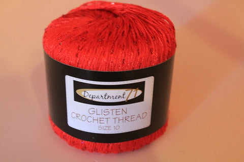 Department 71 Glisten Red Crochet Thread Size 10