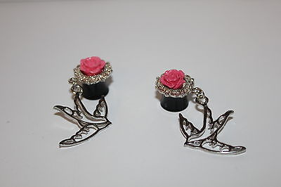 W00372 Dove and Rose Ear Plug Pink Silvertone Black