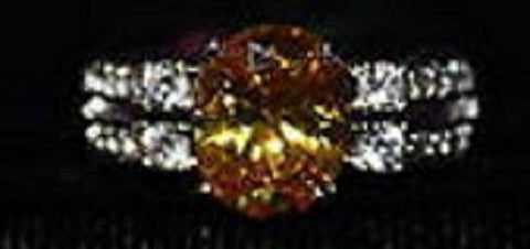 Faux Citrine Lg Stone with Clear Accent Stones Silvertone Ring Size 8 W00320