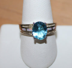 925 Silvertone Ring with Faux Opal and Blue Clear Crystal Size 10