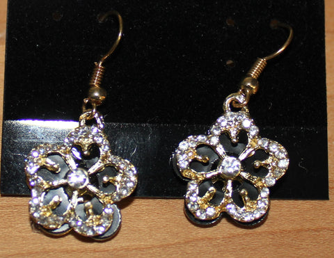 Gorgeous Goldtone Flower Earrings with Faux Crystals