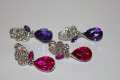 2 Piece Butterfly Dangle Earring Set Pink and Purple with Silver