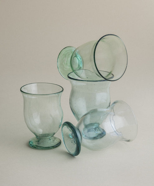 La Riccia Recycled Glass Footed Drinking Glass