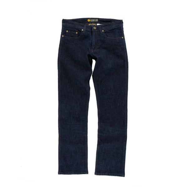Resurgence Gear Mens Heritage in Dark Blue PEKEV motorbike jeans, safer alternative to Kevlar jeans