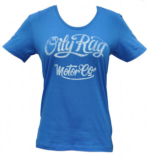 Oily Rag Clothing Motor Co Ladies scoop necked T'Shirt in Blue