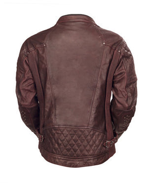 Roland Sands Design Clash leather motorcycle jacket Oxblood