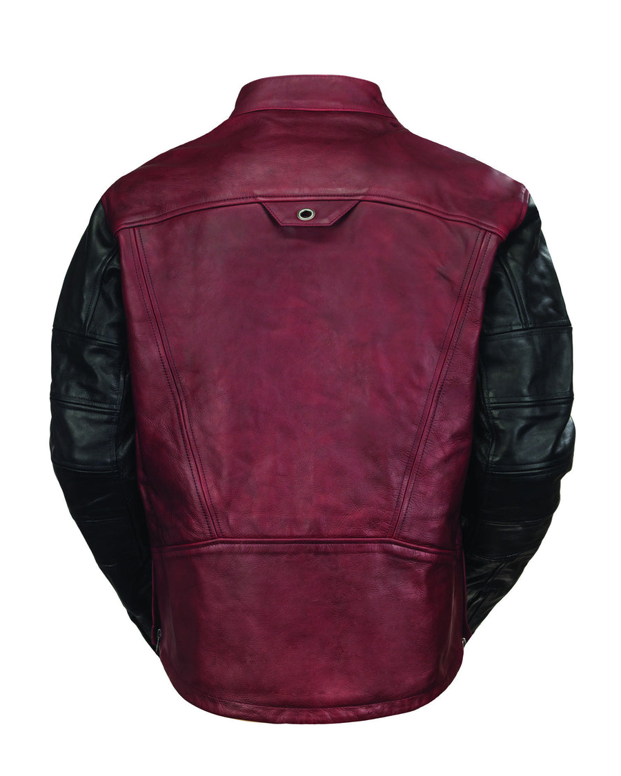 Roland Sands Design Ronin motorcycle leather jacket in Black and Oxblood