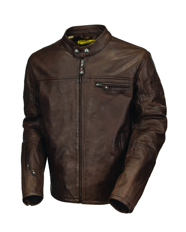 Roland Sands Design Ronin motorcycle leather jacket in Tobacco