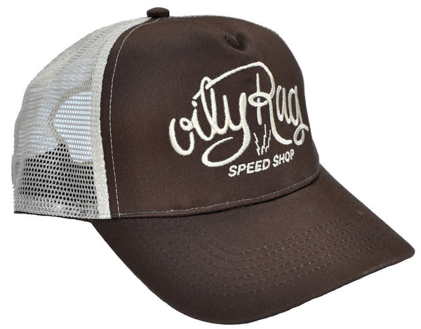 Oily Rag Clothing Speed Shop brown trucker cap