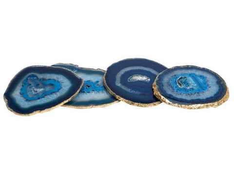 Agate Coasters Blue Gold Rim
