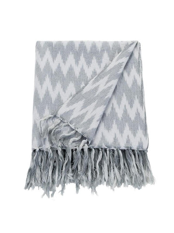 Nevada Ikat Throw - Fog-Linen & Moore-The Vignette Room - Unique & Inspiring Furniture & Homewares in Paddington Sydney