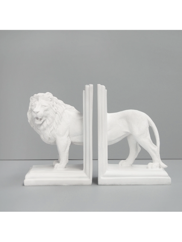 Lion Bookend Set - White-White Moose-The Vignette Room - Unique & Inspiring Furniture & Homewares in Paddington Sydney