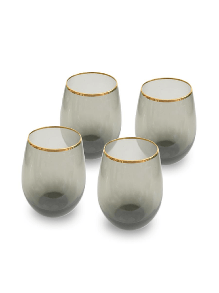 Charcoal Stemless Wine Glasses - Set of 4-Nel Lusso-The Vignette Room - Unique & Inspiring Furniture & Homewares in Paddington Sydney