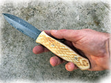 Damascus Steel Knife, Athame Dagger, Buffalo Bone Handle