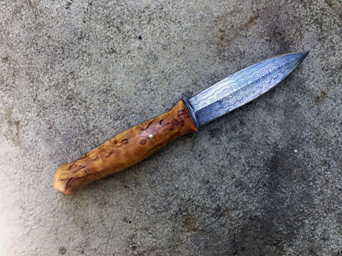 Damascus Steel Knife, Athame Dagger, Karelian Birch Handle