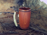 Wooden Tankard Mug, Mahogany Wood, Elk Antler Handle