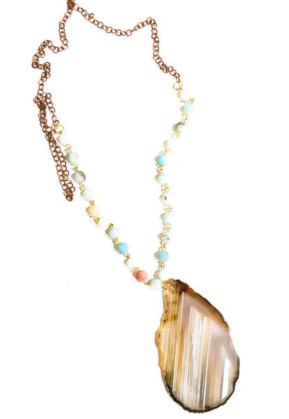 Agate Slice & Beach Stone Necklace